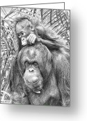 Ape. Great Ape Greeting Cards - Mother And Daughter Greeting Card by Larry Linton
