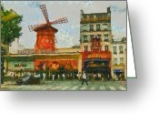 France Greeting Cards - Moulin Rouge Greeting Card by Aaron Stokes
