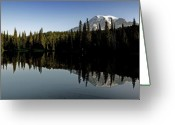 Snow-cap Greeting Cards - Mount Rainier National Park Washington Greeting Card by Brendan Reals