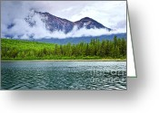 National Greeting Cards - Mountain lake in Jasper National Park Greeting Card by Elena Elisseeva