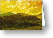 3d Digital Art Greeting Cards - Mountains Greeting Card by Svetlana Sewell