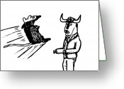 Buffalo Drawings Greeting Cards - Mouse VS. Buffalo Greeting Card by Karl Addison