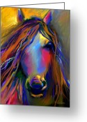 Contemporary Horse Digital Art Greeting Cards - Mustang horse painting Greeting Card by Svetlana Novikova