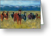 Western Pastels Greeting Cards - Mustangs in Southern Colorado Greeting Card by Frances Marino