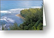 Na Pali Coast Kauai Greeting Cards - Na Pali Coast from the Kalalau Trail on Kauai Hawaii Greeting Card by Brendan Reals