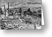 Ww2 Photographs Greeting Cards - Nagasaki, 1945 Greeting Card by Photo Researchers