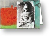 Circles Mixed Media Greeting Cards - Namaste Greeting Card by Linda Woods