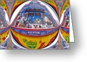Nathans Greeting Cards - Nathans Hot Dog eating Contest Greeting Card by Mark Gilman