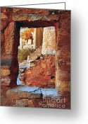 Native Architecture Greeting Cards - Native American Cliff Dwellings Greeting Card by Jill Battaglia