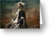 Lianne_schneider Fine Art Print Greeting Cards - Native Honor Greeting Card by Lianne Schneider