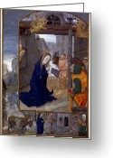 Saint Joseph Greeting Cards - Nativity With Shepherds Greeting Card by Granger