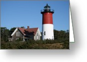 Nauset Beach Greeting Cards - Nauset Lighthouse Greeting Card by Gina Cormier