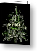 Word Cloud Digital Art Greeting Cards - Navidad Greeting Card by George Zamora