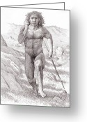 Animal Hunting Greeting Cards - Neanderthal Man Greeting Card by Mauricio Anton