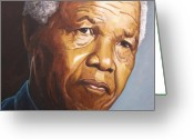 Freedom Painting Greeting Cards - Nelson Mandela Greeting Card by Kenneth Kelsoe
