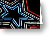 4th July Greeting Cards - Neon Star Greeting Card by Darren Fisher