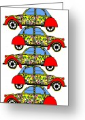 Asbjorn Lonvig Greeting Cards - Nerds Car - Virtual Cars Greeting Card by Asbjorn Lonvig