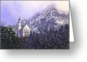 King Ludwig Greeting Cards - Neuschwanstein Castle Greeting Card by Anthony Citro