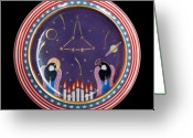 Surrealism Ceramics Greeting Cards - New constellation - Challenger. Greeting Card by Vladimir Shipelyov