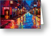 Night Greeting Cards - New Orleans Magic Greeting Card by Debra Hurd