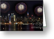 4th July Greeting Cards - New York City Celebrates the 4th Greeting Card by Susan Candelario