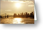 Manhattan Sunset Greeting Cards - New York City Sunset Greeting Card by Vivienne Gucwa