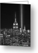 Tribute Greeting Cards - New York City Tribute in Lights Empire State Building Manhattan at Night NYC Greeting Card by Jon Holiday