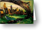 Flower Photography Painting Greeting Cards - New York Skyline Greeting Card by Mark Kazav