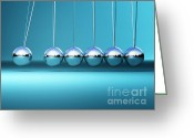 Swaying Greeting Cards - Newton Cradle Background Greeting Card by Gualtiero Boffi