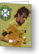 Kicking Football Greeting Cards - Neymar Art Deco Greeting Card by Lee Dos Santos