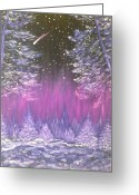 Snowy Night Greeting Cards - Night Fantasy  Greeting Card by Irina Astley