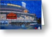 Cubs Painting Greeting Cards - Night Game Greeting Card by J Loren Reedy