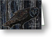Owl Digital Art Greeting Cards - Night Owl - Digital Art Greeting Card by Carol Groenen