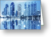 Featured Photo Greeting Cards - Night Scenes Of City Greeting Card by Setsiri Silapasuwanchai