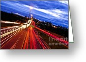 Twilight Greeting Cards - Night traffic Greeting Card by Elena Elisseeva