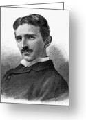 Tesla Greeting Cards - Nikola Tesla (1856-1943) Greeting Card by Granger