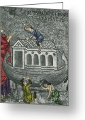 Palatina Greeting Cards - Noah Building The Ark Greeting Card by Photo Researchers