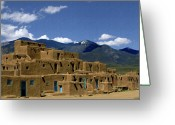 Taos Pueblo Greeting Cards - North Pueblo Taos Greeting Card by Kurt Van Wagner