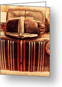 Old Postcards Greeting Cards - Nostalgic Rusty Old Ford Truck . 7D10281 Greeting Card by Wingsdomain Art and Photography
