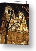 Nighttime Greeting Cards - Notre Dame de Paris Greeting Card by Elena Elisseeva