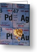 Periodic Greeting Cards - Nuggets Of Gold On Periodic Table Greeting Card by David Nunuk