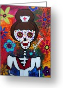 Cartera Greeting Cards - Nurse Day Of The Dead Greeting Card by Pristine Cartera Turkus