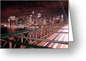 Manhattan Greeting Cards - NYC Night Lights Greeting Card by Nina Papiorek