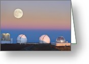 Telescope Domes Greeting Cards - Observatories On Summit Of Mauna Kea Greeting Card by David Nunuk