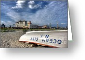 Row Greeting Cards - Ocean City Lifeboat Greeting Card by John Loreaux