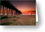 Surf Photography Greeting Cards - Oceanside Sunset 10 Greeting Card by Larry Marshall