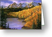 Snow Capped Painting Greeting Cards - October Colors Greeting Card by David Lloyd Glover