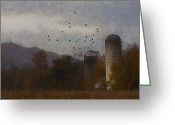 Silo Greeting Cards - October Harvest Greeting Card by Ron Jones