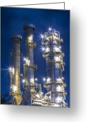 Pollute Greeting Cards - Oil Refinery Plant  Greeting Card by Anek Suwannaphoom