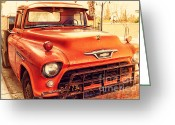Old Postcards Greeting Cards - Old American Chevy Chevrolet Truck . 7D10669 Greeting Card by Wingsdomain Art and Photography
